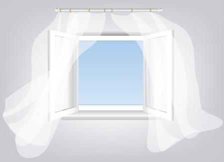 white window: Habitaci�n, abri� la ventana con el espacio vac�o en el cielo azul y blancas que fluyen cortinas transparentes