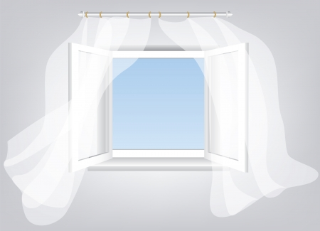 window curtains: Room, opened window with empty space in blue sky and white flowing transparent curtains  Illustration