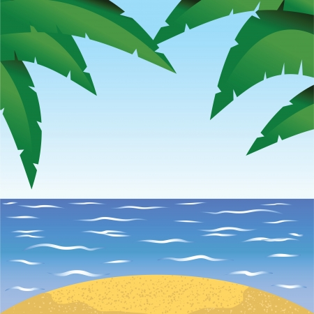 ocean view: Beautiful seaside view on sunny day with sand and palm leaves  Summer holidays vector background