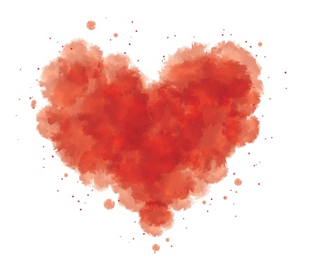 grunge watercolor abstract heart with blood Stock Vector - 15307109