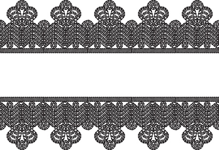 horizontal seamless white background with black vintage crocheted lace frame   Vector