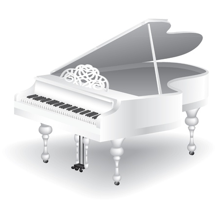 pianoforte: vintage white grand piano isolated on white background