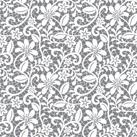 retro lace: white seamless lace floral pattern on gray background