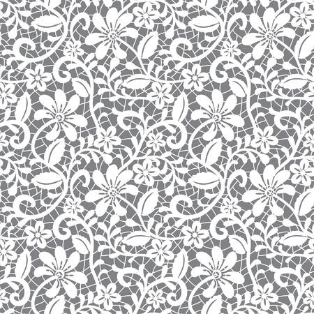 veters: wit naadloze kant bloemmotief op een grijze achtergrond Stock Illustratie