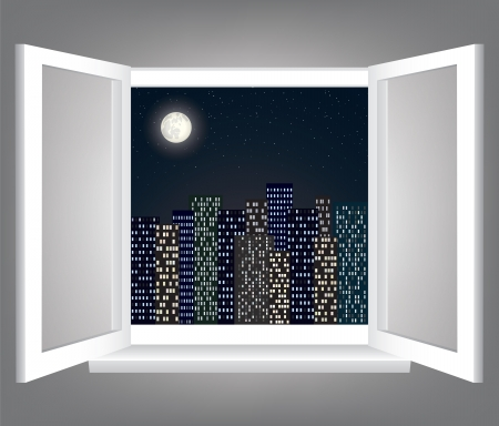Room, opened window with night city scape
