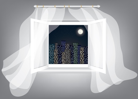 Room, opened window with night city scrape and curtains Vector
