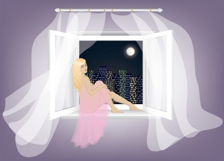 sad lonely blonde woman sitting on window and enjoying night city landscape  Vector