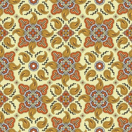foliate: Seamless pattern with paisley on yellow background