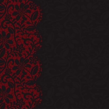 Tarjeta de la invitación del vintage con bordes de encaje sobre fondo de tela oscura Ilustración de vector
