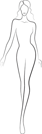 fashion sketch of beautiful slim nude woman silhouette walking on the catwalk Vector