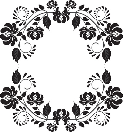 tracery: Dark floral frame isolated on white background