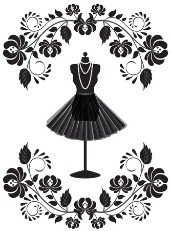 mode kaart met etalagepop met ketting en rok in floral frame