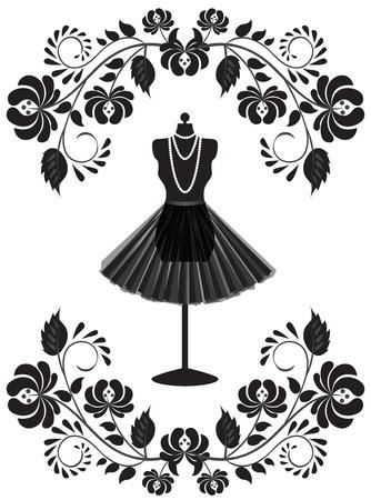 mannequin: Scheda di moda con manichino con collana e gonna in cornice floreale