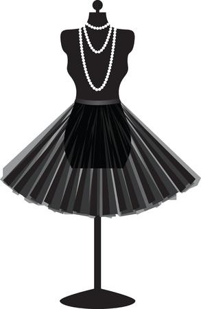 silhouette vuoto manichino nero con gonna e collana isolato su sfondo bianco