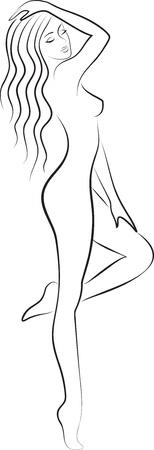 nude woman: fashion sketch of beautiful slim nude woman silhouette
