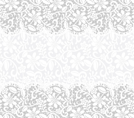 white lace: template for wedding, invitation or greeting card with lace fabric background  horizontal seamless pattern