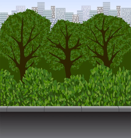 uptown: city park  urban landscape with trees, bushes and walkway Illustration