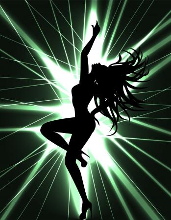 Flyer tarjeta para la fiesta de discoteca con silhuette de mujer bailando sexy go-go dancer y show de rayos láser