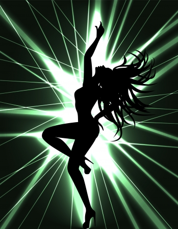 Scheda Flyer per la festa in discoteca con silhuette di ballo donna sexy go-go dancer e laser show