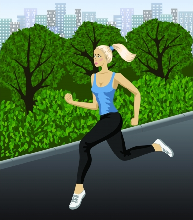 Running in the urban park   Jogging woman on the city park  Vector