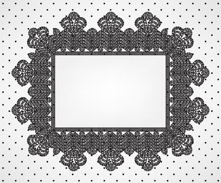 simplicity: Tarjeta de la vendimia con el marco chrochet encaje y tela de lunares Vectores