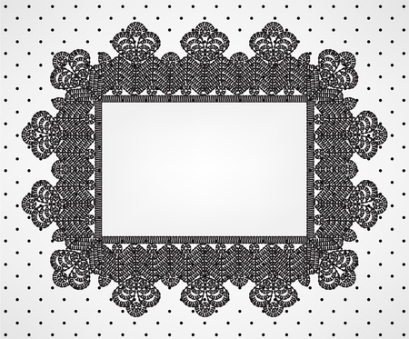 simplicity: Vintage card with chrochet lace frame and polka dot fabric