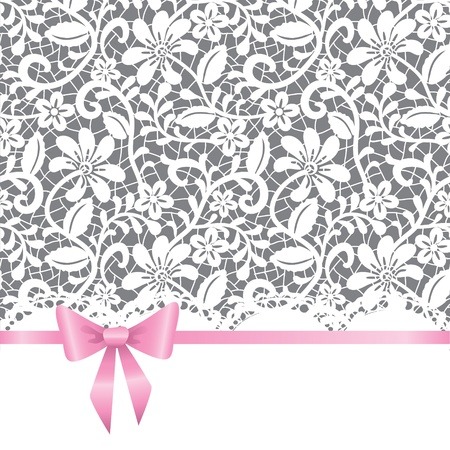 birthday invitation: template for wedding, invitation or greeting card with lace background and pink ribbon Illustration
