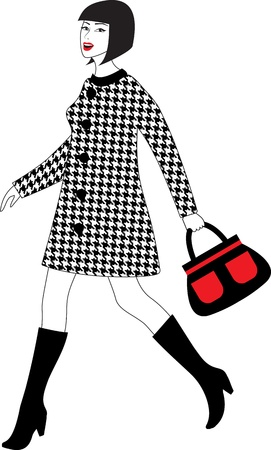 walking woman in coat with bag Vector