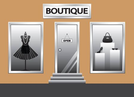 Boutique front  Exterior shop windows with mannequin, shoes, bag and glasses photo