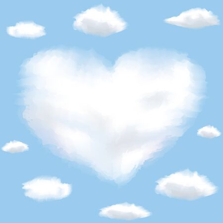 Cloud shaped heart on a sky  Background with clouds photo
