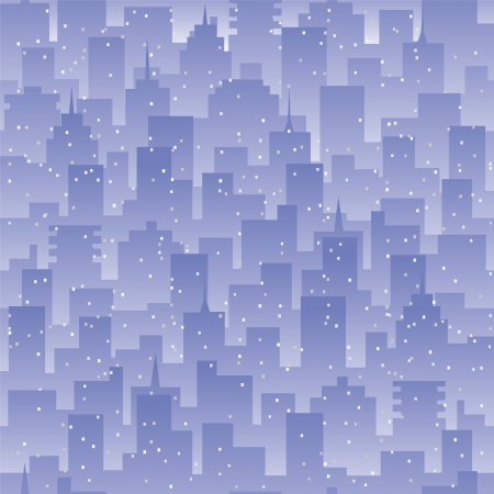 smog: Seamless background evening city landscape  Smog or fog in a polluted city  Modern residential or office buildings with light in windows