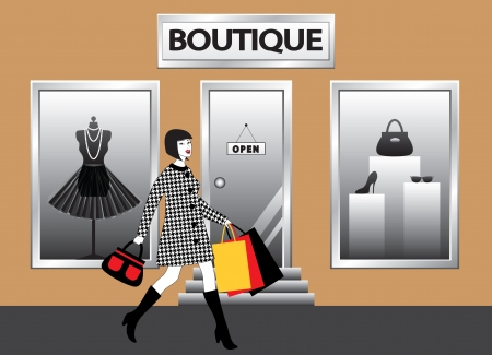 boutiques: happy fashion women with shopping bags walking in front of  boutique showcase