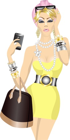 luxury kitch rich beautiful fashion woman with bag and mobile phone Иллюстрация