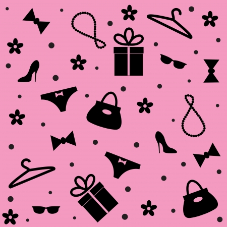 Seamless pattern of woman accessories or gift on pink background Vector