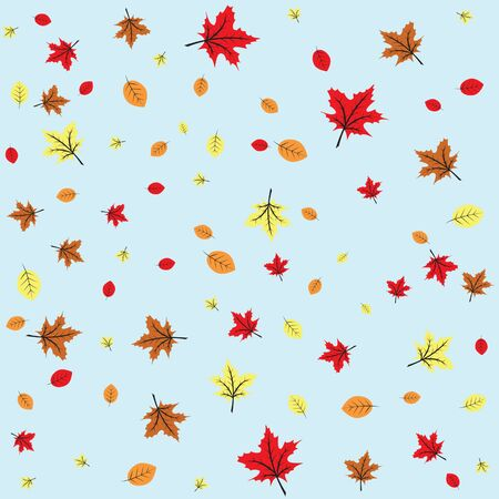 Autumn leaves fall, blue sky, seamless background Vector