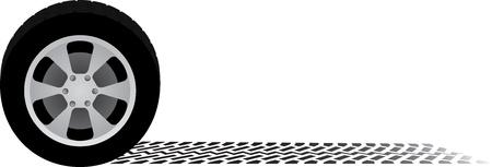 auto wiel en band spoor Vector Illustratie