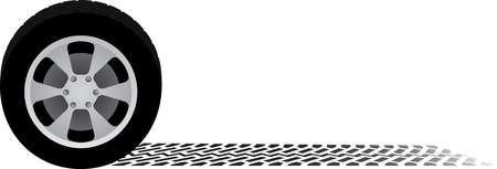 rueda de coche y la pista del neumático Ilustración de vector
