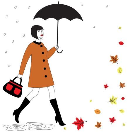 rain coat: Fashionable beautiful happy woman with umbrella walking in the rain  Autumn leaves falling in the wind