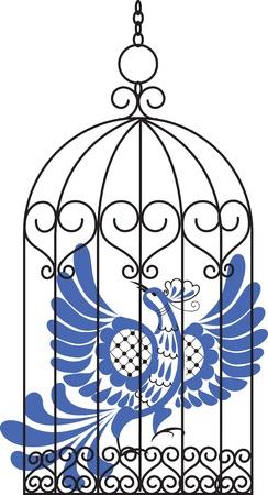 pajaro azul: P�jaro azul en la jaula de antig�edad Vectores