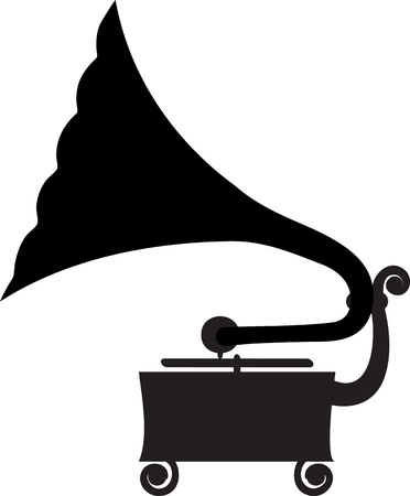 record player: Silhouette of antique gramophone