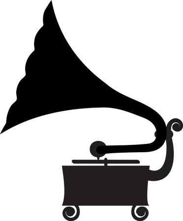 gramophone: Silhouette of antique gramophone