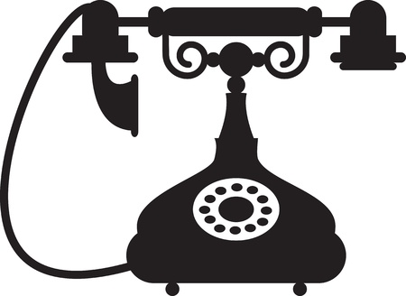 old phone: Silhouette of antique telephone
