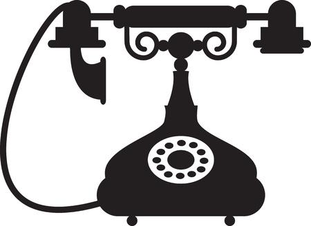 cable telefono: Silueta de teléfono antiguo
