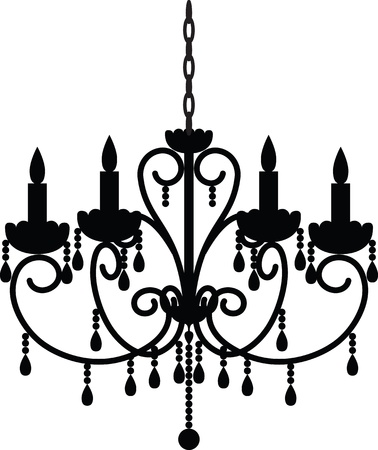 Silhouette of antique chandelier