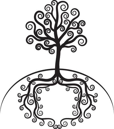 kale: Kunst mooie boom met wortels vormig frame in de grond Stock Illustratie