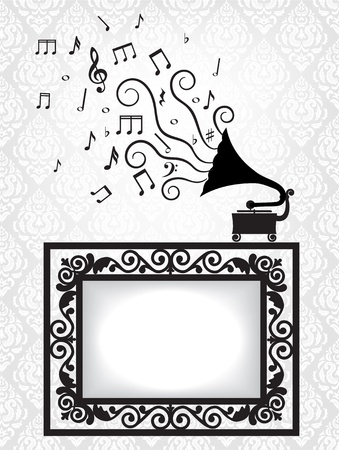 famous paintings: music card with antique frame and gramophone Illustration