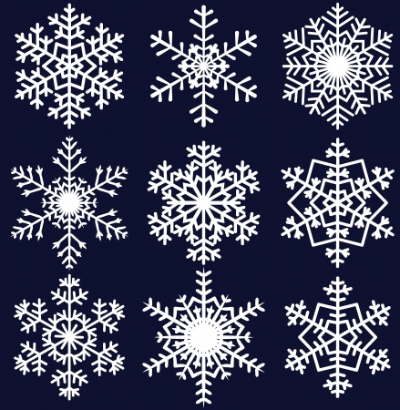 snowflake background: Beautiful snowflakes set for christmas winter design