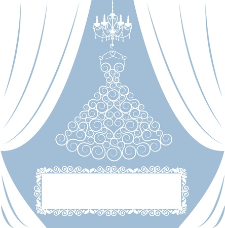 evening gown: wedding card with dress on hanger, white curtains, antique chandelier and frame