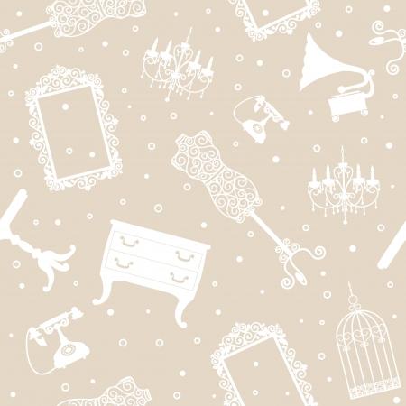 kleedkamer: Antieke meubelen, naadloze achtergrond