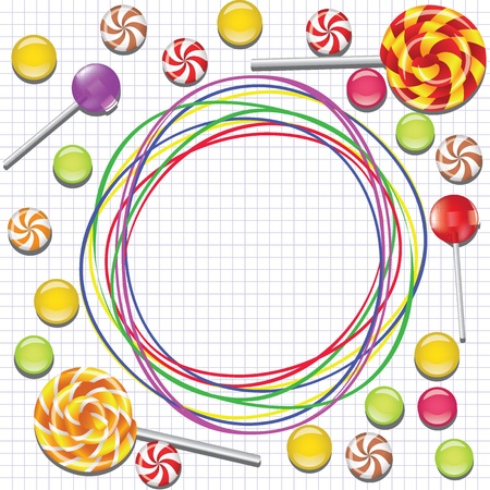 background with candies and doodle frame on lined paper  Illustration